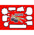 sushi with speech comics bubbles on red p vector image