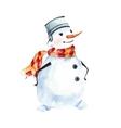 Watercolor snowman merry symbol vector image