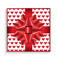 Gift Box with Red Bow Ribbon vector image