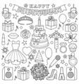 girl birhtday doodle set vector image