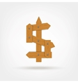 Wooden Boards Dollar Sign vector image vector image
