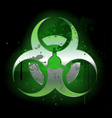 Biohazard symbol on a dark background vector image