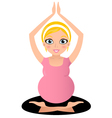 Blond Pregnant yoga woman isolated on white vector image