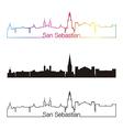 San Sebastian skyline linear style with rainbow vector image vector image