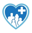 medicine icon with family on heart vector image