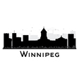 Winnipeg City skyline black and white silhouette vector image