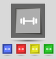barbell icon sign on original five colored buttons vector image