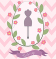 Bright floral card with cute cartoon tailoring vector image