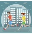 Couple Jogging in the City vector image