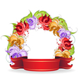 Flowers and ribbon vector image