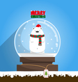 Merry Christmas white polar bear in snow globe vector image