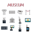 Museum flat icons set vector image