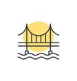 thin line sunset behind the bridge logo vector image