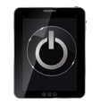 Glass power button icon on abstract tablet vector image