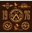 Duck Hunting - set for hunting emblem vector image