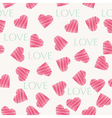 Seamless hearts pattern retro texture red and mint vector image