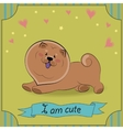 Brown dog Chow-chow I am cute Vintage card vector image