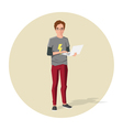 cartoon guy or nerd with notebook in his hands vector image
