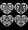 set of ornate heart shape vector image
