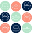 Set of white silhouettes teapots icons vector image