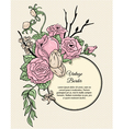 Vintage round border bouquet of flowers vector image