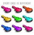 a rainbow of nine guitar cases vector image vector image