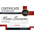 Red black elegance horizontal certificate template vector image