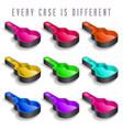 a rainbow of nine guitar cases vector image