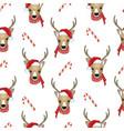christmas deer seamless pattern reindeer head vector image