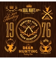 Deer Hunting - set for hunting emblem vector image