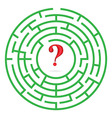 Labyrinth with interrogation mark vector image