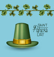 poster saint patricks day with green top hat and vector image