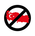Turkey Is Prohibited Emblem of sanctions for vector image