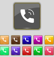 Phone icon sign Set with eleven colored buttons vector image