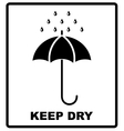 icon packaging sign keep dry with umbrella vector image
