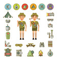 scout boy and girl and equipment signs around vector image