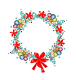 Christmas Wreath of Christmas Balls and Red Bows vector image