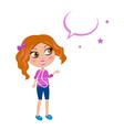 cute school girl superstar vector image vector image