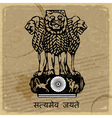 Coat of arms of India on the old postage card vector image