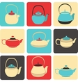 collection of color silhouette teapot icons vector image