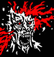 exploded zombie head with splashes of blood and vector image