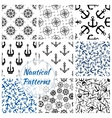 Nautical anchor helm compass seamless pattern vector image