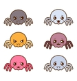 Set of kawaii spiders with different facial vector image