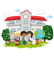Students learning at school vector image