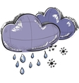 Two clouds with snowflakes and rain drops vector image vector image