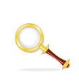 Gold magnifier isolated vector image vector image