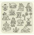 Set of sketch cartoon houses vector image vector image