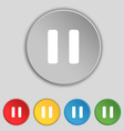 pause icon sign Symbol on five flat buttons vector image