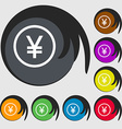 Japanese Yuan icon sign Symbols on eight colored vector image