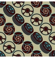 Automotive seamless pattern with brake discs and vector image